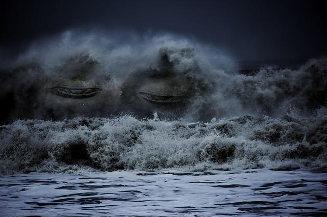 AVANCER QUAND L'ÉMOTION EST TROP FORTE : un tsunami émotionnel. vague avec yeux tristes