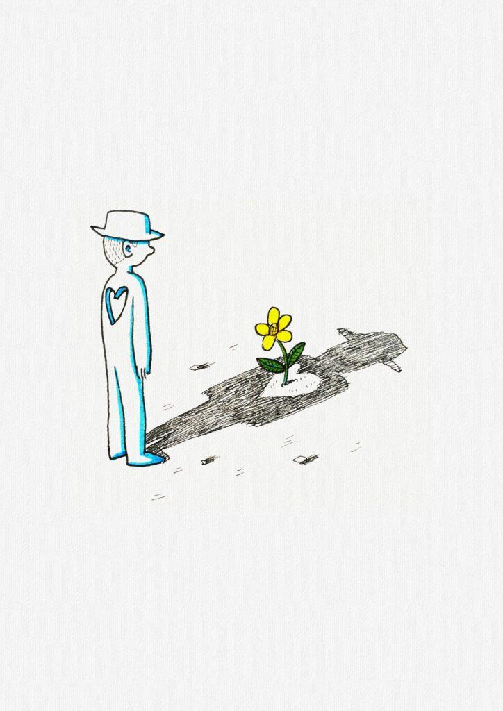 NE PLUS AVOIR PEUR DU VIDE INTÉRIEUR : dessin d'un homme au coeur troué dans lequel pousse une fleur